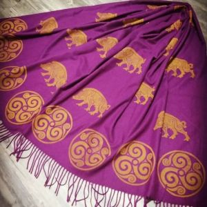 Magenta soft scarf with boar & triskele print. Hand printed with hand carved stamps. The boar & triskele scarf is new, pre-washed, ready to wear & machine washable!