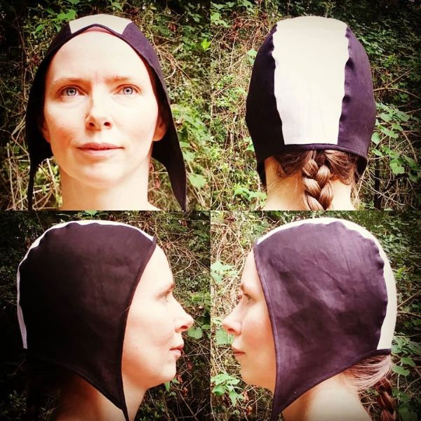 Medium black & white linen coif / arming cap made from lovely soft black & white linen fabric. The fabric is already pre-washed, the linen coif is ready to wear & machine washable!