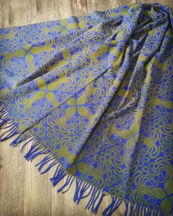 Soft & cozy scarf with octopus print. Hand printed with a hand carved octopus stamp. The octopus scarf is new, pre-washed, ready to wear & machine washable!