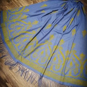 Soft, cozy & warm blue scarf with yellow 12th century print. Hand printed with my own hand carved stamps. The scarf is new, pre-washed, ready to wear & machine washable!