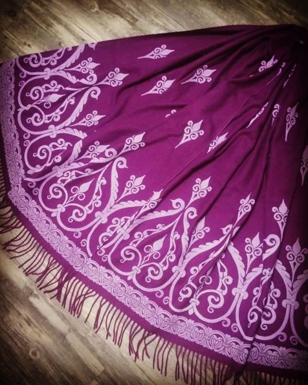 Soft, cozy & warm magenta scarf with white 12th century print. Hand printed with my own hand carved stamps. The scarf is new, pre-washed, ready to wear & machine washable!