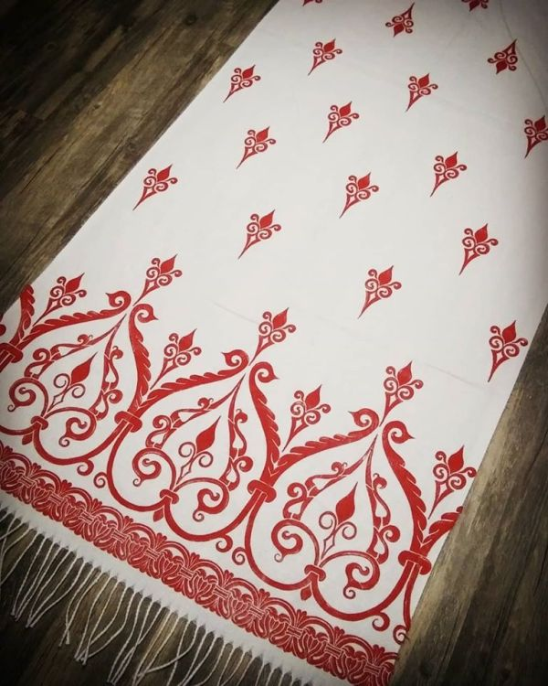 Soft, cozy & warm white scarf with bright red 12th century print. Hand printed with my own hand carved stamps. The scarf is new, pre-washed, ready to wear & machine washable!