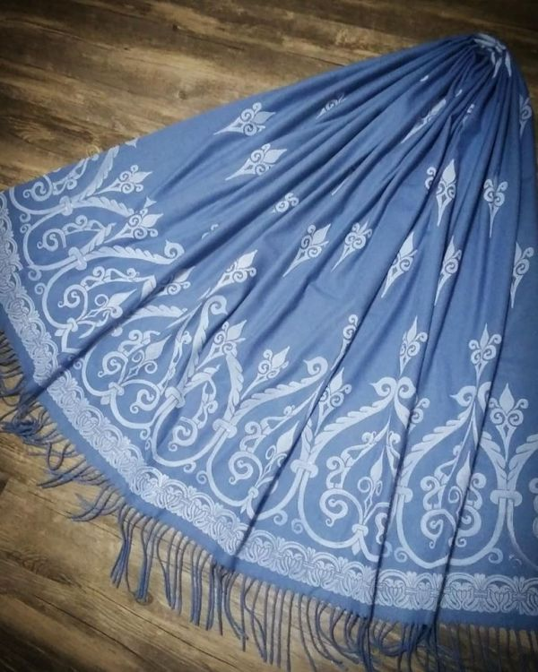 Soft, cozy & warm blue scarf with white 12th century print. Hand printed with my own hand carved stamps. The scarf is new, pre-washed, ready to wear & machine washable!