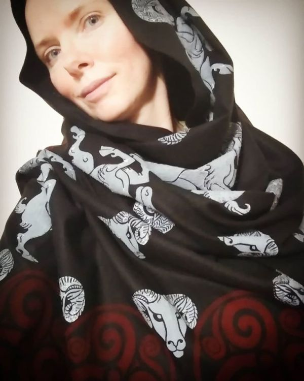 Black soft scarf with ram, ram head & triskele print. Hand printed with hand carved stamps. The ram & triskele scarf is new, pre-washed, ready to wear & machine washable!