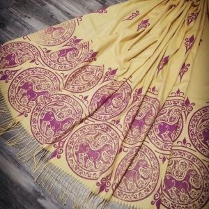Soft & cozy yellow scarf with 11th century lioness print & 12th century decorative filling stamp. Hand printed with hand carved stamps. The scarf is new, pre-washed, ready to wear & machine washable!