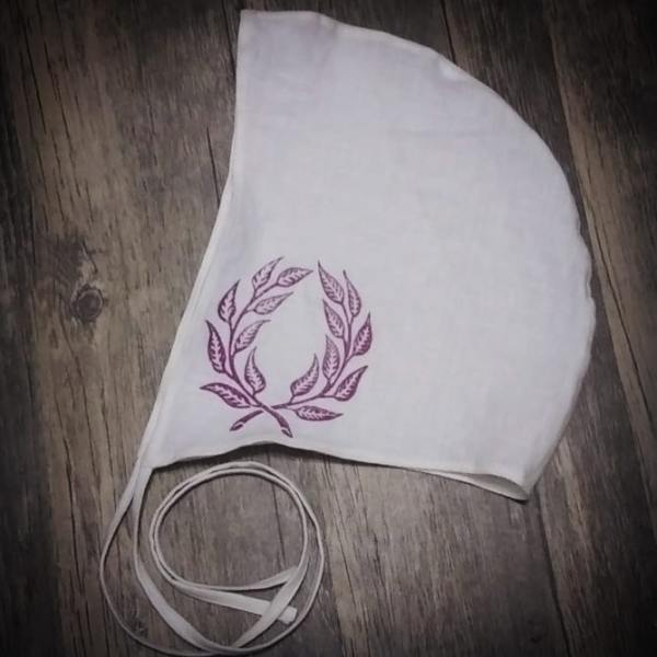 Medium white linen coif/arming cap made from pre-washed 100% white linen fabric, handprinted in magenta with a handcut laurel wreath stamp. New fabric, pre-washed & ready to wear, machine washable!
