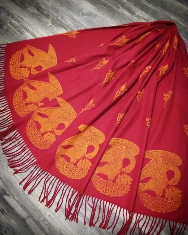Soft, cozy & warm dark red scarf with yellow 15th century pelican print. Hand printed with my own hand carved stamps. The scarf is new, pre-washed, ready to wear & machine washable!