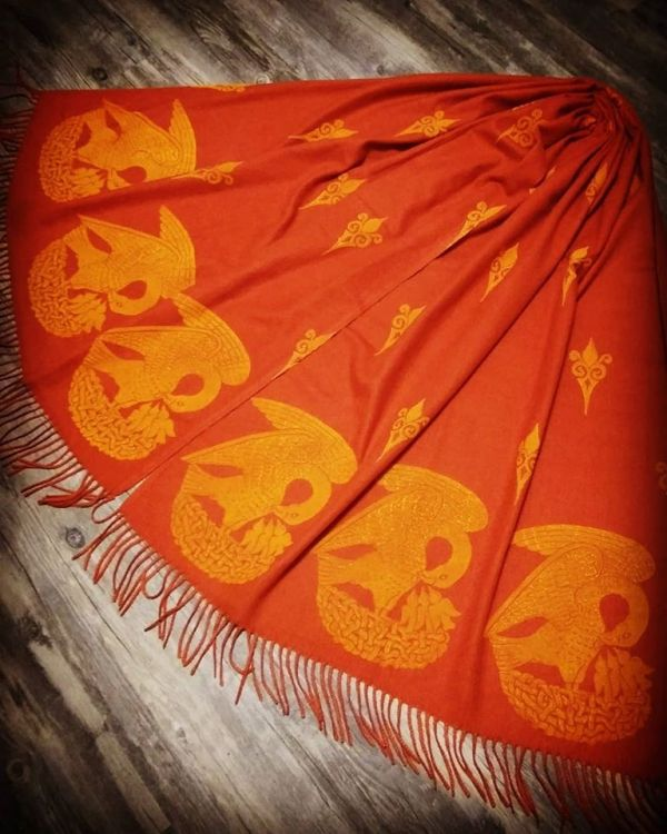 Soft, cozy & warm rust red scarf with yellow 15th century pelican print. Hand printed with my own hand carved stamps. The scarf is new, pre-washed, ready to wear & machine washable!