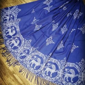 Soft, cozy & warm blue scarf with white 12th century lion print. Hand printed with my own hand carved stamps. New black 'pashmina feel' scarf, pre-washed, ready to wear & machine washable!