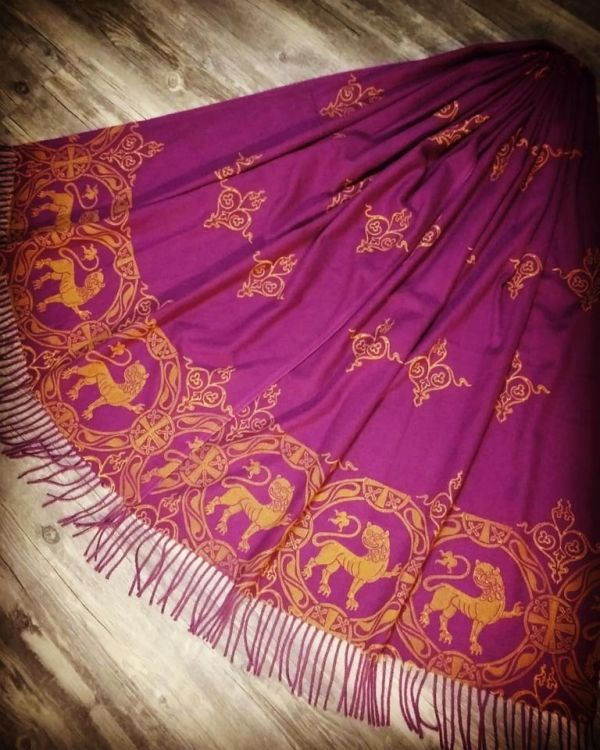 Soft, cozy & warm purple (magenta) scarf with yellow 12th century lion print. Hand printed with my own hand carved stamps. New scarf, pre-washed, ready to wear & machine washable!