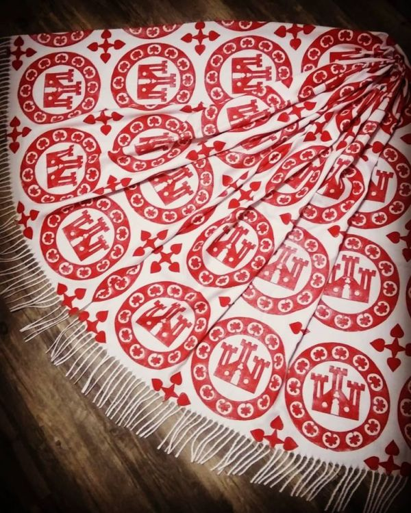 Soft, cozy & warm white scarf with red 13th century castle roundel print for a medieval experience all year long. Hand printed with my own hand carved stamps. New scarf, pre-washed, ready to wear & machine washable!