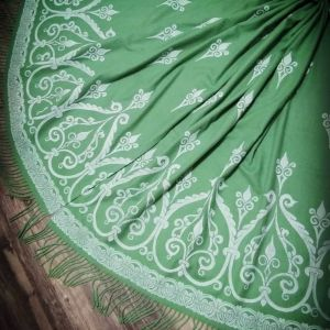 Soft, cozy & warm green scarf with white 12th century print. Hand printed with my own hand carved stamps. New scarf, pre-washed, ready to wear & machine washable!