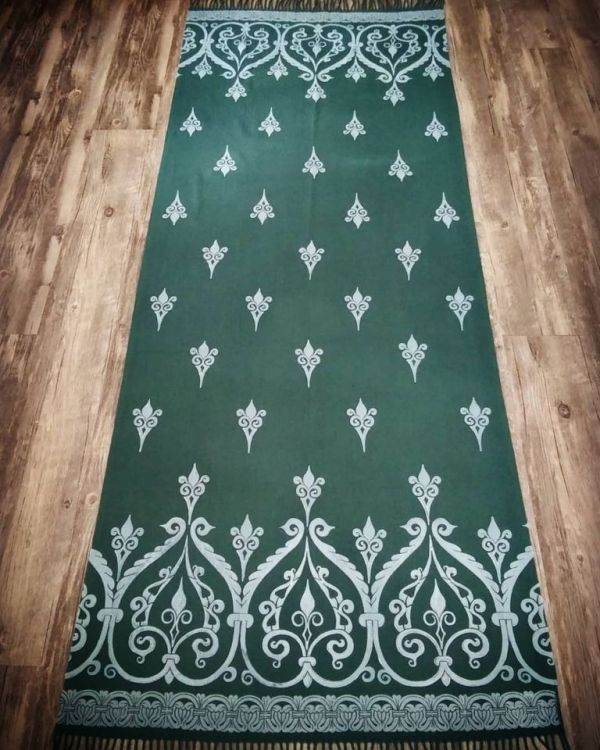 Soft, cozy & warm dark green scarf with white 12th century print. Hand printed with my own hand carved stamps. New scarf, pre-washed, ready to wear & machine washable!