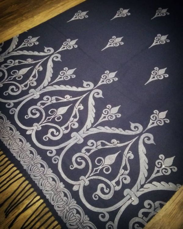Soft, cozy & warm navy blue scarf with white 12th century print. Hand printed with my own hand carved stamps. New scarf, pre-washed, ready to wear & machine washable!