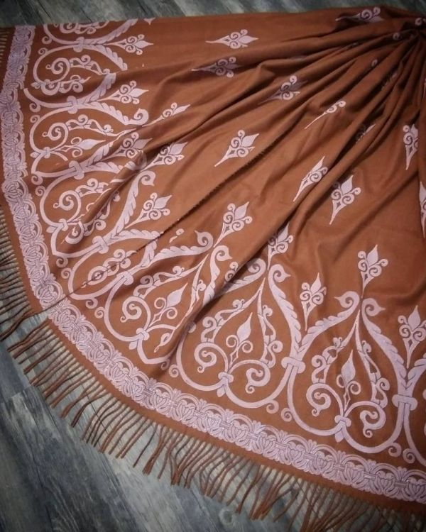 Wearable art! soft, cozy & warm brown scarf with white 12th century print. Hand printed with my own hand carved stamps for a medieval experience all year long. The scarf is new, pre-washed, ready to wear & machine washable!