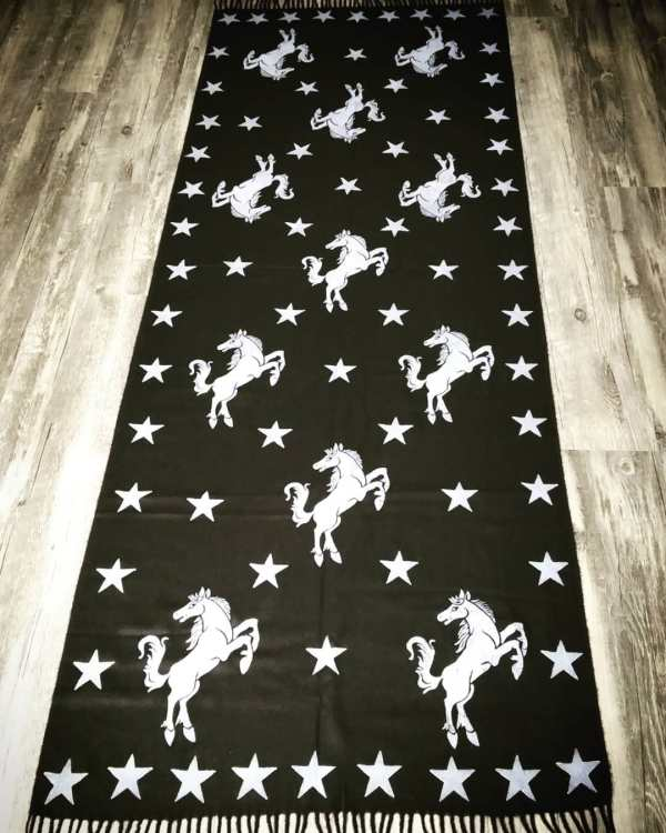 A soft scarf with horse & star print for a warm & cozy experience all year long. Hand printed with my own hand carved stamps. The scarf is new, pre-washed, ready to wear & machine washable!