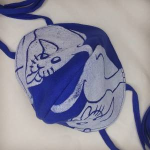 Special blue linen cat face mask with long ties & white 16th century butt-licking cat print. New, pre-washed fabric, ready to wear & machine washable!