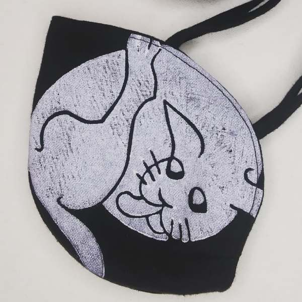 Special black linen cat face mask with long ties & white 16th century butt-licking cat print. New, pre-washed fabric, ready to wear & machine washable!
