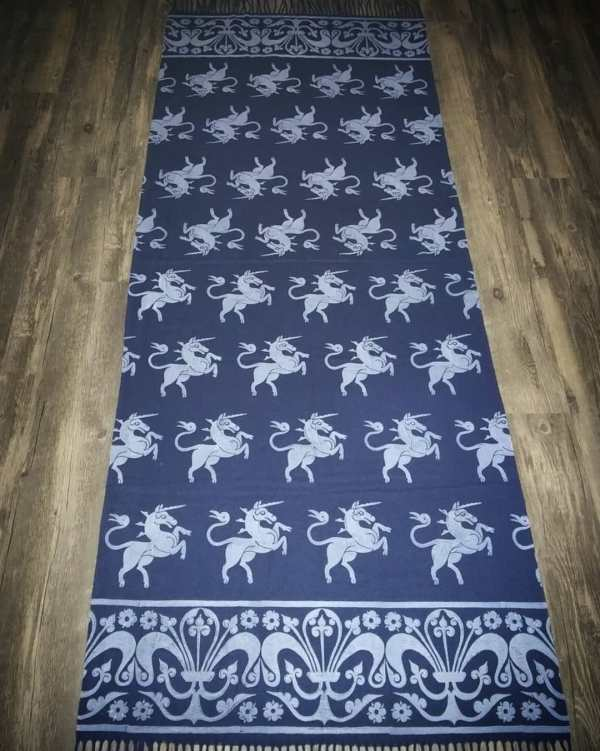 Wearable art in form of a soft & cozy dark blue scarf with 14th century unicorn & 13th century fleur-de-lis border print. Hand printed in white with my own hand carved stamps. New scarf, pre-washed, ready to wear & machine washable!