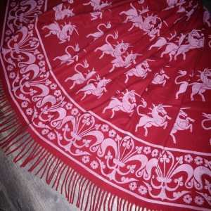 Wearable art in form of a soft & cozy dark red scarf with 14th century unicorn & 13th century fleur-de-lis border print. Hand printed in white with my own hand carved stamps. New scarf, pre-washed, ready to wear & machine washable!