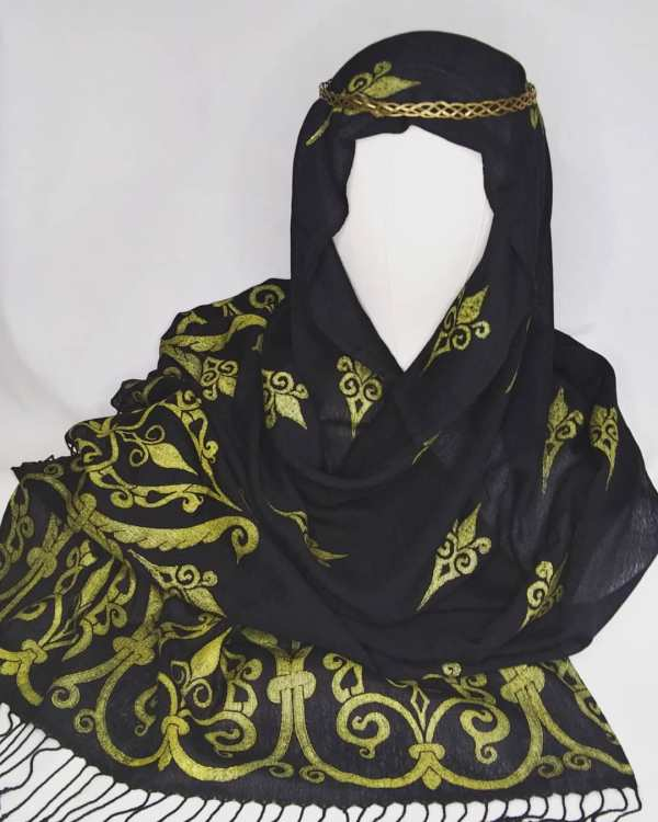 Soft light weight black scarf with premium gold 12th century print for a medieval experience all year long! Hand printed with my own hand carved stamps. New scarf, pre-washed, ready to wear & machine washable!