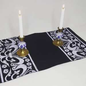Dark blue table runner with fleur-de-lis print. Hand printed with my own hand carved stamps. The cotton canvas for the table runner is new, pre-washed, ready to be used & machine washable!