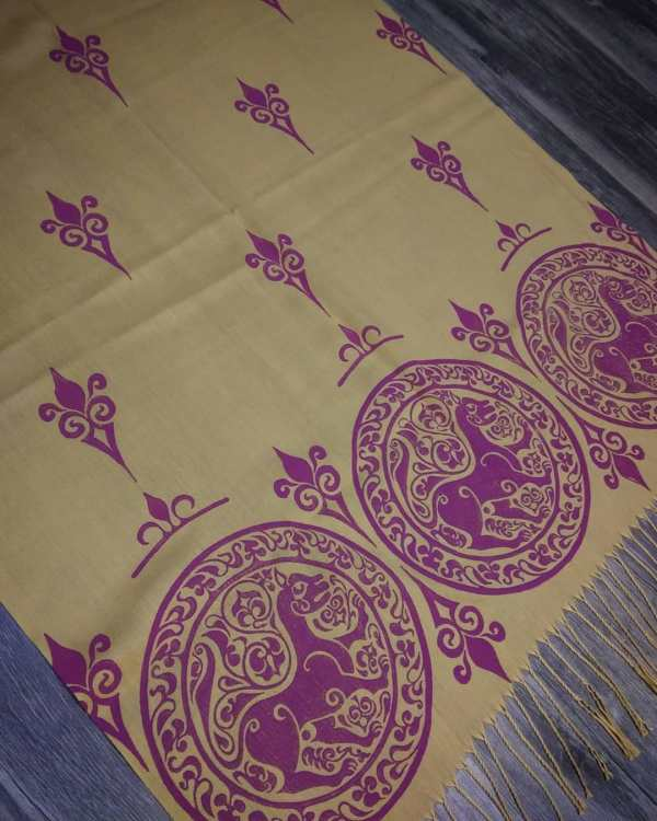 Soft light weight yellow scarf with purple 11th century lioness print for a medieval experience all year long! Hand printed with my own hand carved stamps. New scarf, pre-washed, ready to wear & machine washable!