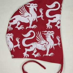 Medium red linen coif/arming cap made from lovely red linen fabric, handprinted in white with a hand carved 13th century inspired griffin stamp. Ready to wear, pre-washed fabric! The coif is machine washable!