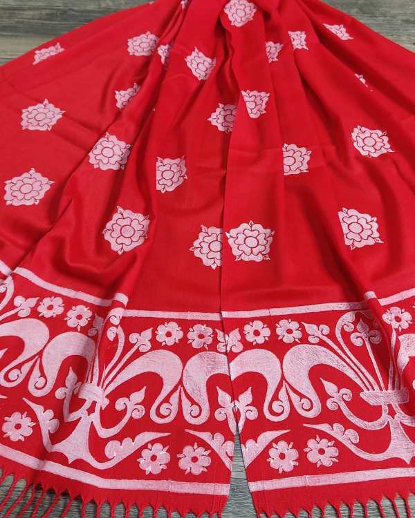 Soft lightweight red scarf with white rose & 13th century border print for a medieval experience all year long! Hand printed with my own hand carved stamps. New scarf, pre-washed, ready to wear & machine washable!
