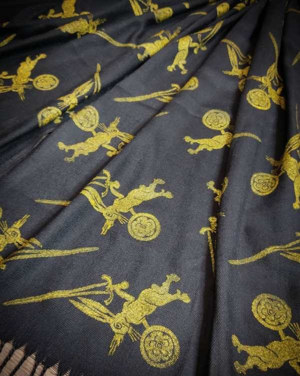 Soft & cozy mid-weight black scarf with 14th century warrior bunny print in premium gold print for a fun medieval experience all year long! Hand printed with my own hand carved stamps. New scarf, pre-washed, ready to wear & machine washable!