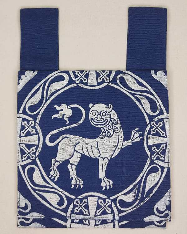 Belt pouch made from blue cotton canvas, completely lined, hand printed with a hand carved 12th century inspired lion stamp. New, ready to use & machine washable!