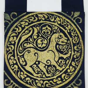 Belt pouch made from exquisite night black cotton Japanese selvedge bull denim, completely lined with gold colored fabric, hand printed with a hand carved 11th century middle eastern lioness stamp in premium gold ink. New, ready to use & machine washable!