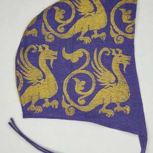 Medium purple linen coif/arming cap made from lovely purple linen fabric, handprinted in gold premium print with a hand carved 13th century inspired dragon stamp. Ready to wear, pre-washed fabric! The coif is machine washable!
