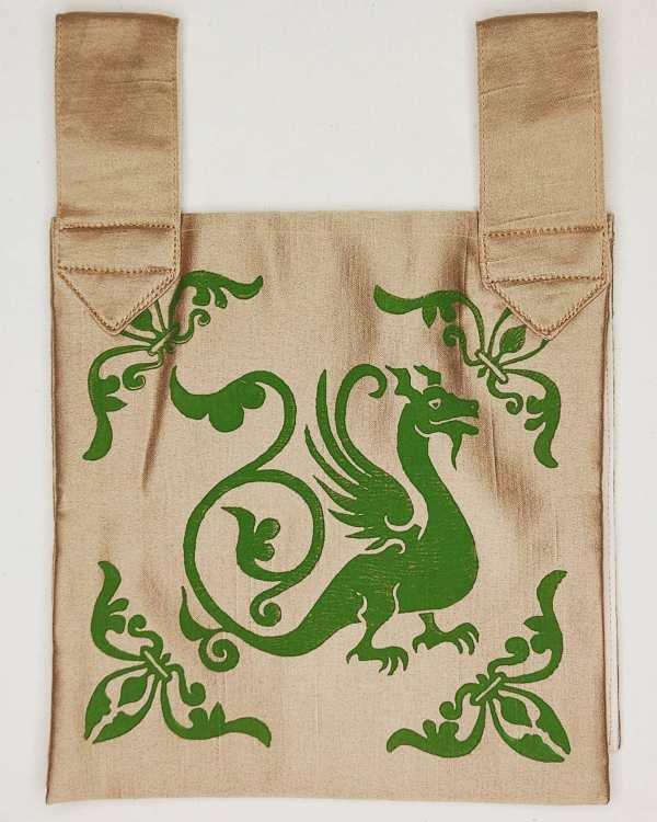 Dragon & fleur-de-lis belt pouch made from gold colored fabric, completely lined and with reinforced seams, hand printed with hand carved 13th century inspired dragon & fleur-de-lis stamp. New, ready to use & machine washable!