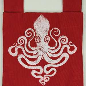 Octopus belt pouch made from durable cotton canvas, completely lined with red cotton fabric and with reinforced seams, hand printed with a hand carved octopus stamp. New, ready to use & machine washable!