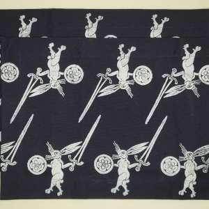 Art for your table in form of a set of 2 dark blue place mats with 14th century warrior bunny print. Hand printed with my own hand carved stamp. The cotton canvas for the place mats is new, pre-washed, ready to be used & machine washable!