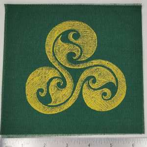 Dark green cotton canvas patch with yellow triskele print. Hand printed with my own hand carved stamp. New, pre-washed & machine washable!