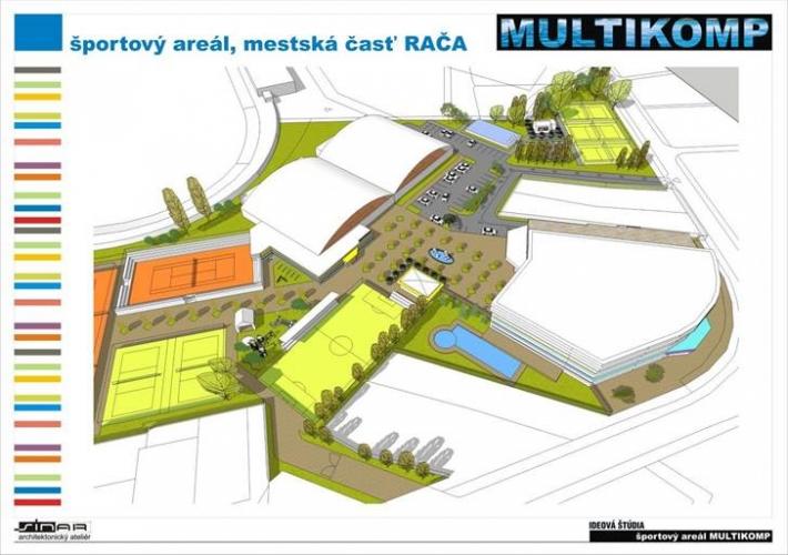 Projekt 1 (Multikomp): Pohľad na navrhovaný areál od Hečkovej/Kadnárovej.