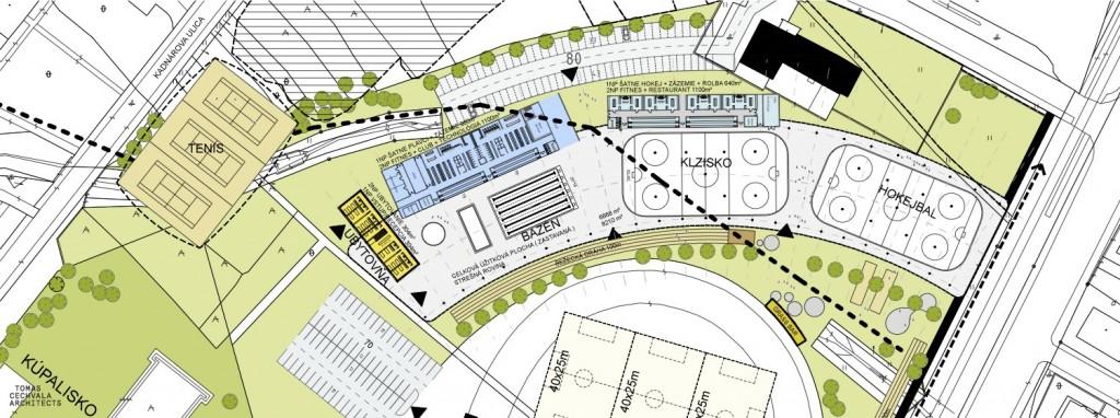 Situačný nákres rozmiestnenia objektov projektu SAR - LBG Aréna v Bratislave - Rači.