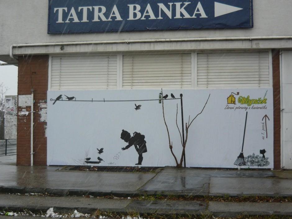 Billboard Mlynček - Zdravé potraviny a kaviarnička. Zimná verzia.