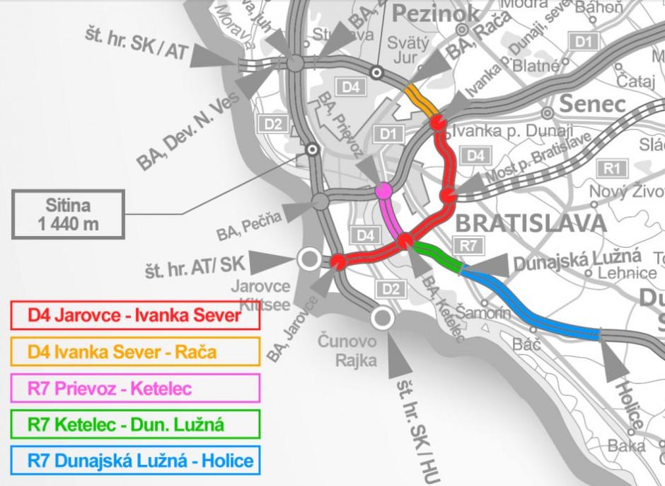 Celková mapka plánovaného obchvatu Bratislavy D4 - R7