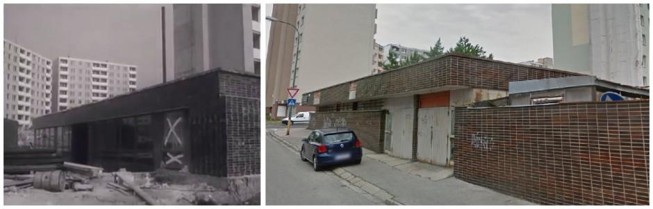 Výstavba sídliska Záhumenice: Pohľad na kotolňu v roku 1979 a 2014 (pri dnešnej Bille).
