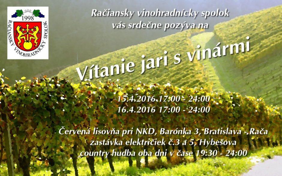 Vítanie jari s vinármi 2016 sa uskutoční v Červenej lisovni pri NKD