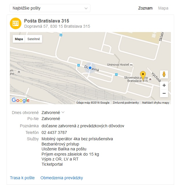 Slovenská pošta, Dopravná 57