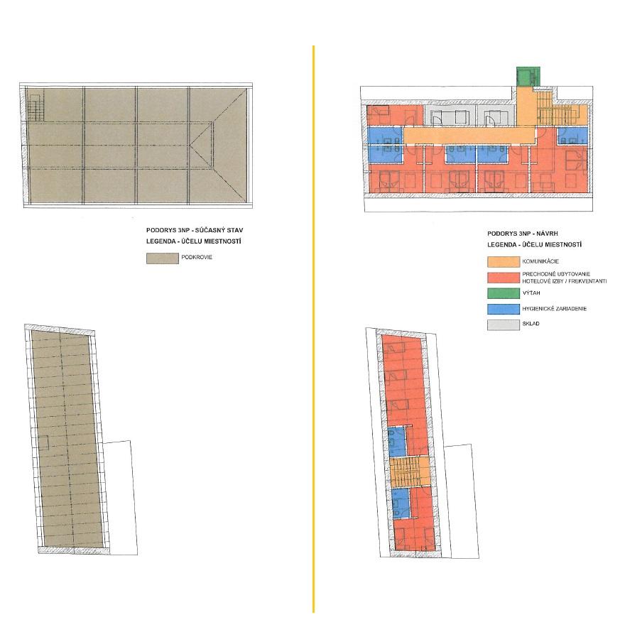 Predložený zámer: Vzdelávaco-rehabilitačné stredisko Bivio. 3. podlažie súčasnej budovy a po rekonštrukcii.