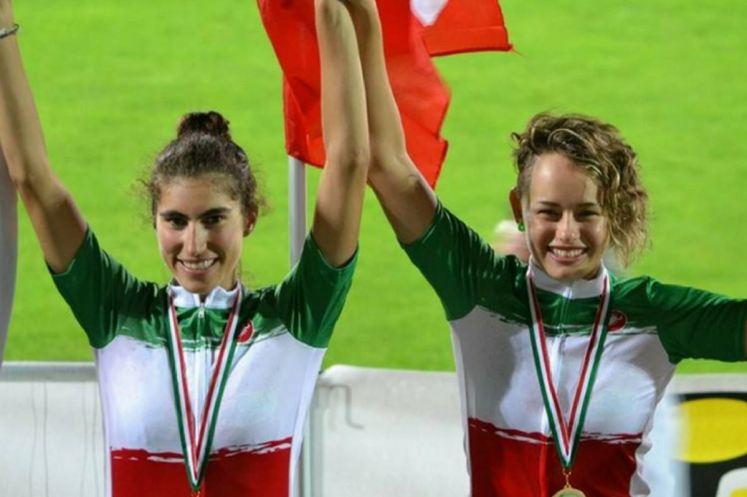 Gloria Manzoni sul podio dei Campionati Italiani di Velocità Olimpica 2014 con Elisa Balsamo