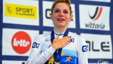 Matilde Vitillo emozionata sul podio degli Europei corsa a punti