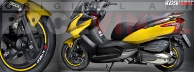 Racevinyl Kymco Superdink 125 pegatinas vinilos adhesivos llanta stickers vinyls stripes rim genericos amarillo