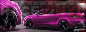 Racevinyl Volkswagen Golf GTI vinilo pegatina adhesivo Spire vinyl sticker llanta rueda rosa