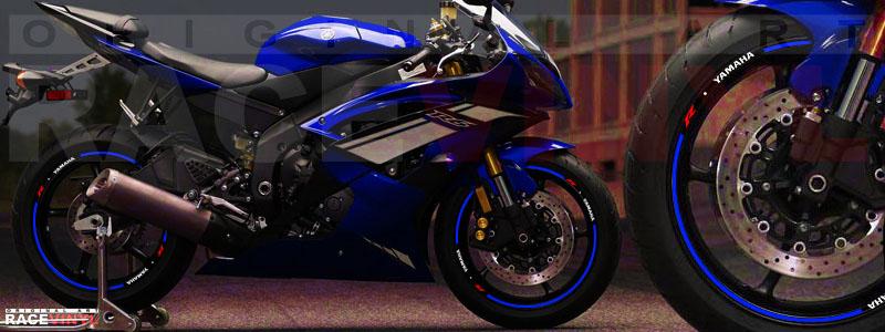 Racevinyl Yamaha R6 sticker vinio adhesivo vinyl rim llanta azul